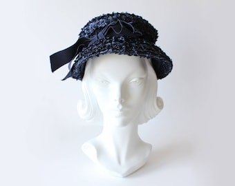 1960s Hat / Vintage Navy Blue Woven Cellophane Straw Lampshade Hat