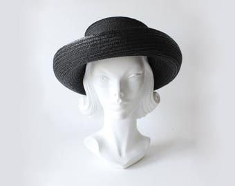 Vintage des années 1990 Eric Javits Black paille structuré chapeau de soleil