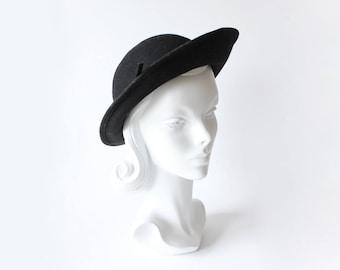 1980s Hat / Vintage Black 100% Wool Wide Brim Michael Howard Hat