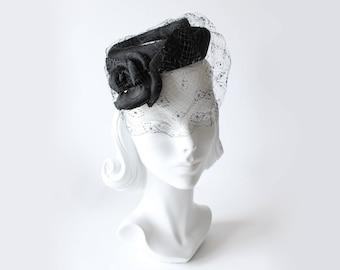 1950s Hat / Vintage Black Rosette Veiled Cocktail Hat