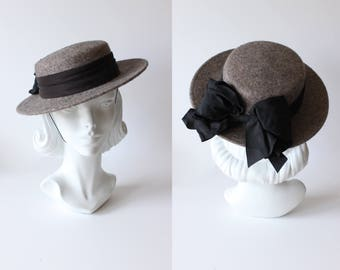 1980s Hat / Vintage Whittall and Javits Grey Mohair Wool Felt Boater Hat