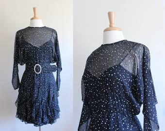 Robe Illusion de vintage à manches longues noir à pois