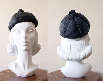 1960s Hat / Vintage Navy Blue Woven Hat with Bauble