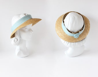 eedd8f6ff314e2 Vintage 1980s Straw Visor Style Open Top Sun Hat