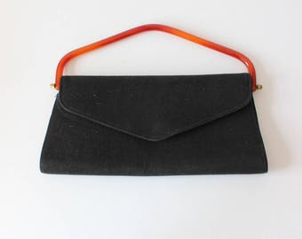 767ff9a1dc5 1950s Handbag   Vintage Black Fabric Lucite Handle Bag