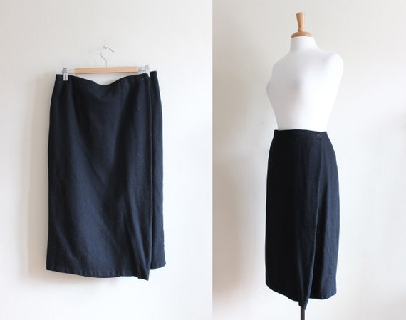 Vintage 1990s Minimalist Black Woolen Wrap Skirt