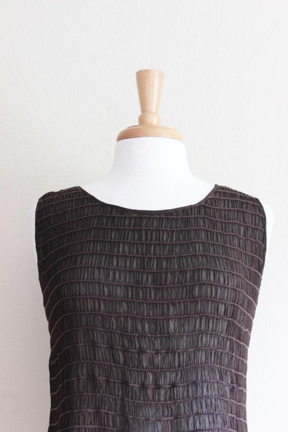Vintage 1990s Shirred Brown Silk Chiffon Sheer Ta… - image 4