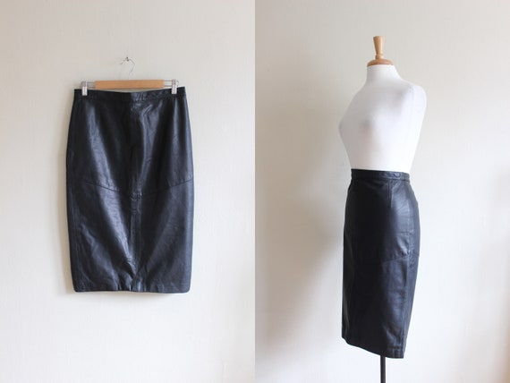 Vintage Black Leather High Waist Wiggle Skirt