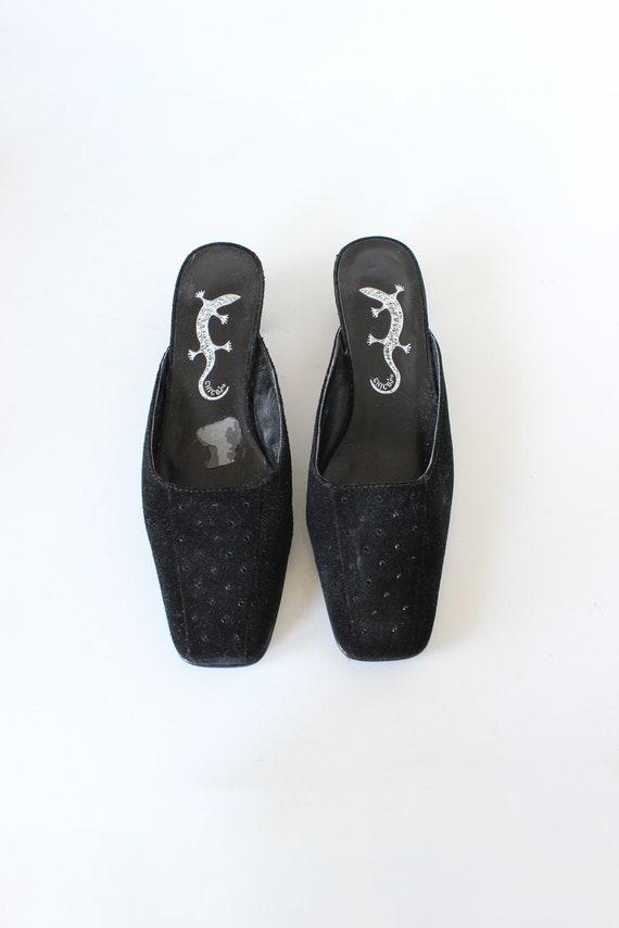 Vintage 1990s Rhinestone Embellished Black Suede … - image 6