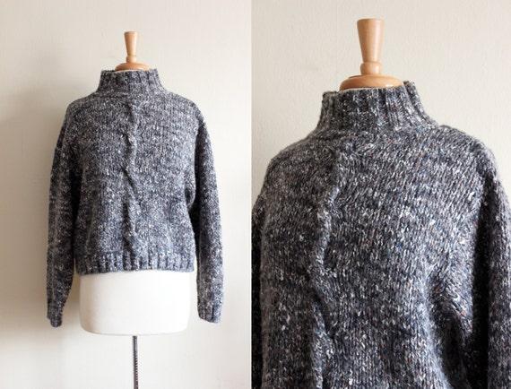 Vintage Grey Blue Heather Chunky Knit Cropped Swea