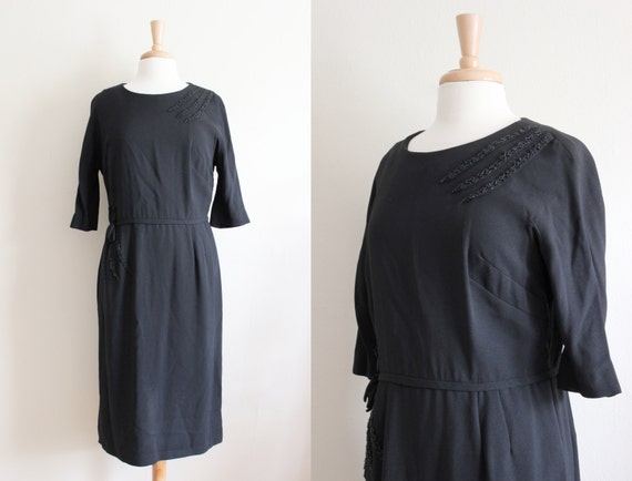 Vintage 1960s Lady Petite Beaded Black Dress