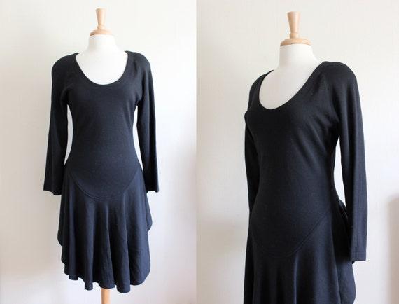 Vintage Long Sleeve Black Wool Knit Bustle Back Dr