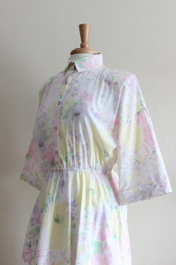 Vintage 1970s Pastel Floral Shirtwaist Dress - image 7