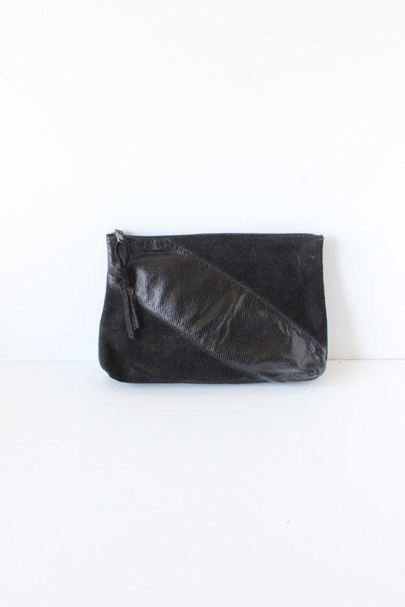 Vintage 1980s Black Leather & Suede Clutch Bag