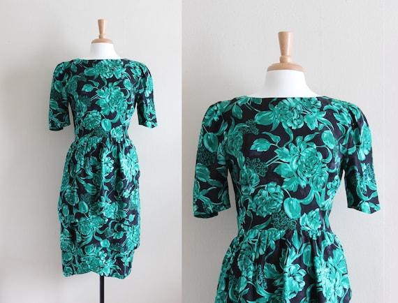 Vintage 1980s Green & Black Floral Silk Dress