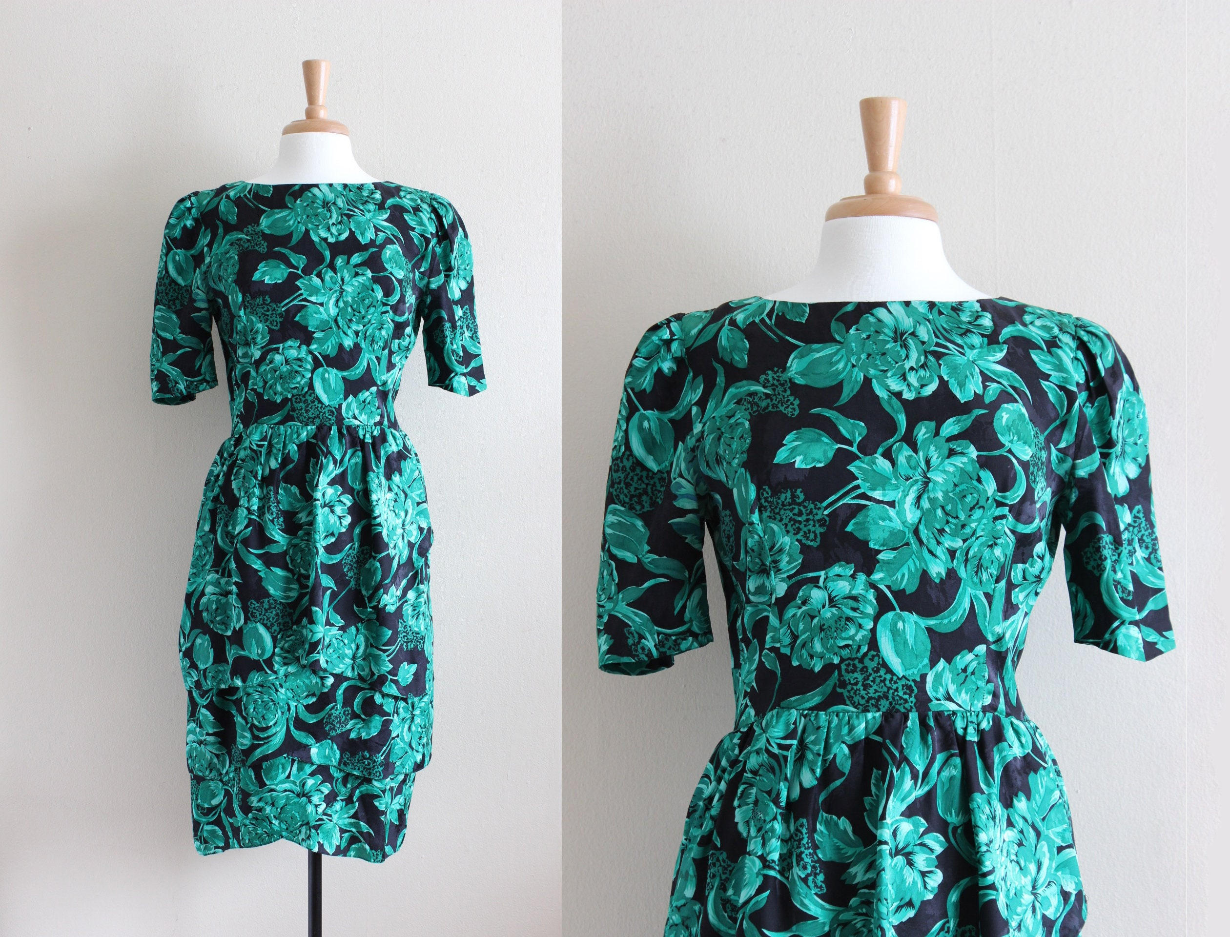 80s Dresses | Casual to Party Dresses Vintage 1980S Green  Black Floral Silk Dress $86.00 AT vintagedancer.com