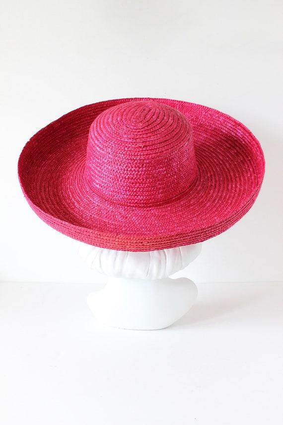 Vintage Hot Pink Wide Brim Straw Hat - image 5