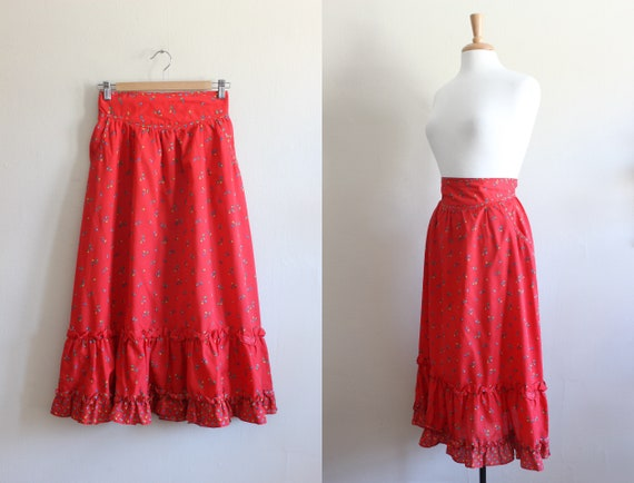 Vintage 1970s Red Calico High Waist Midi Skirt