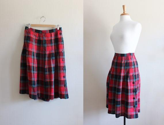 Vintage 1980s Red Plaid Linen Pleated Midi Skirt