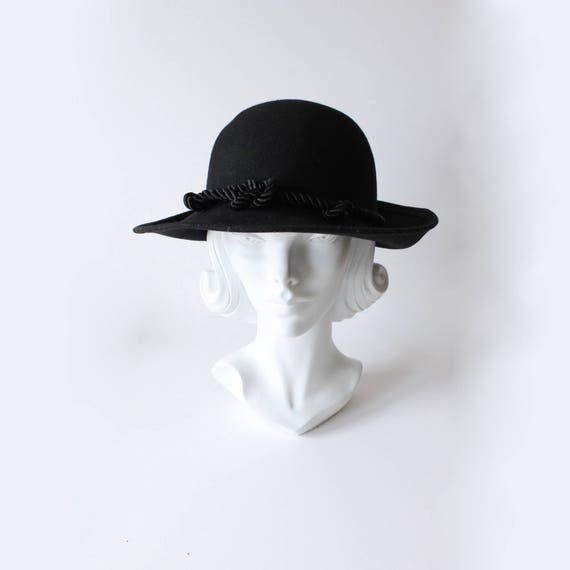 Vintage Bollman Hat Company Knotted Rope Black Wool Felt Hat  09d07d96719
