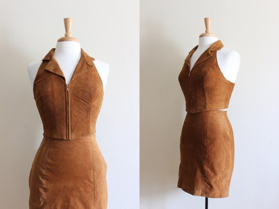 Vintage 1990s Brown Suede Halter Top & Mini Skirt