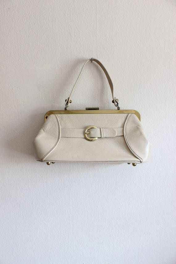 1960s Purse / Vintage Calderon Beige Top Handle Do