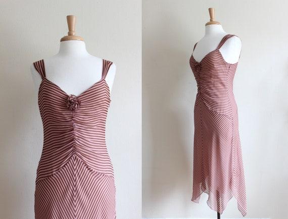 Vintage 1990s Pink & Brown Stripe Silk Chiffon Dr… - image 1
