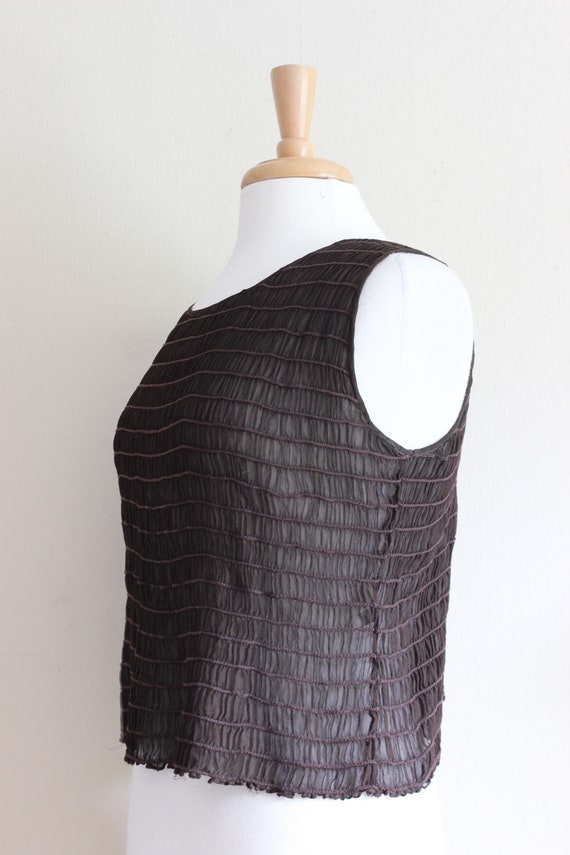 Vintage 1990s Shirred Brown Silk Chiffon Sheer Ta… - image 6