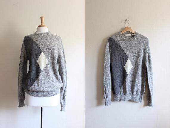 Vintage White and Grey Alpaca Sweater