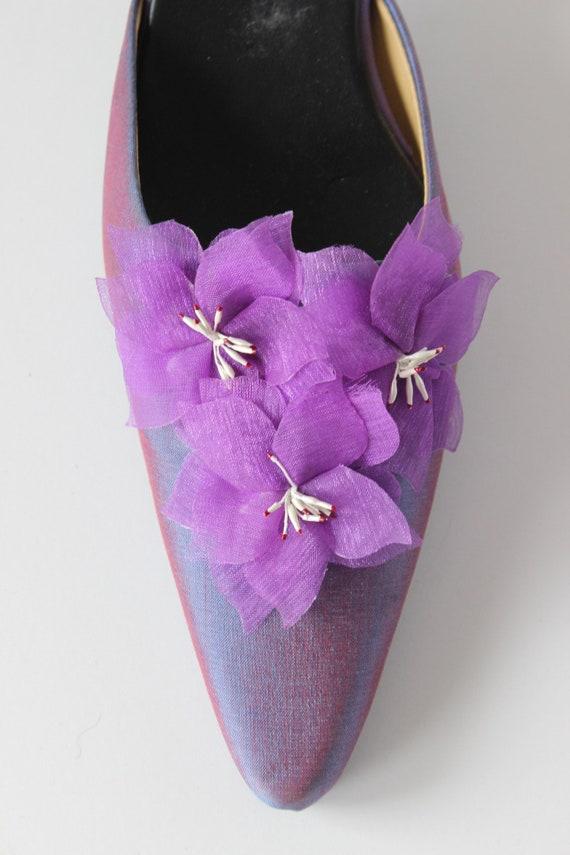 Vintage 1990s Iridescent Purple Flower Mules, siz… - image 6