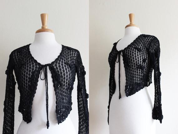 Vintage 1990s Sue Wong Black Crochet Cropped Cardi
