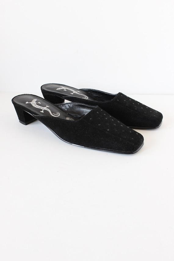 Vintage 1990s Rhinestone Embellished Black Suede … - image 4