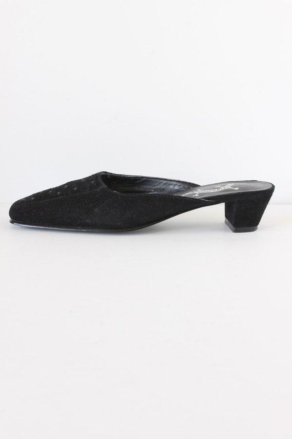 Vintage 1990s Rhinestone Embellished Black Suede … - image 2