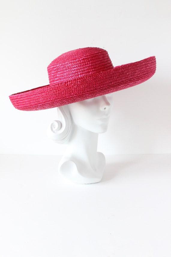 Vintage Hot Pink Wide Brim Straw Hat - image 3