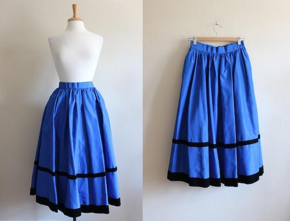 Vintage Saks Fifth Avenue Cobalt Blue Taffeta Full