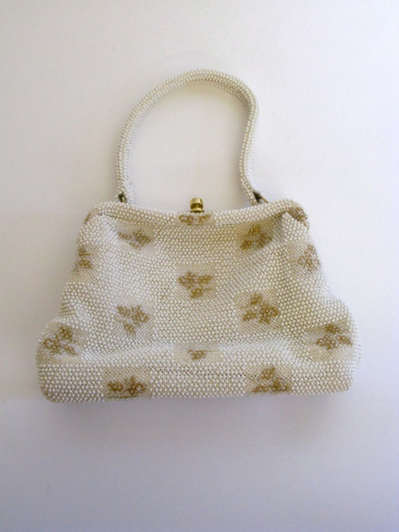 1960s Bag / Vintage Gold and White Beaded Top Han… - image 2