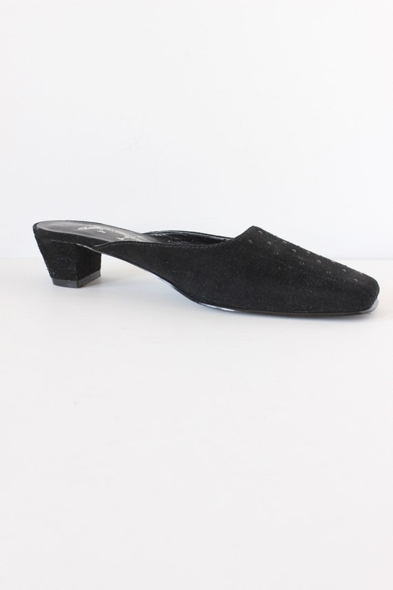 Vintage 1990s Rhinestone Embellished Black Suede … - image 3