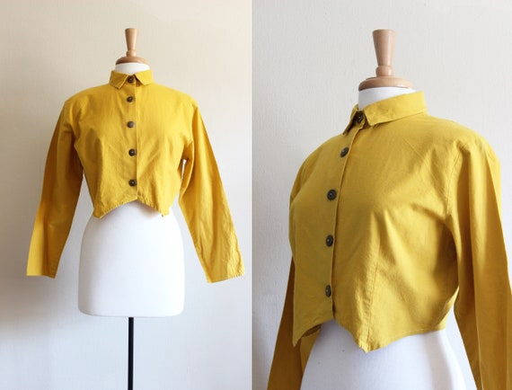 Vintage Mustard Yellow Cotton Cropped Blouse