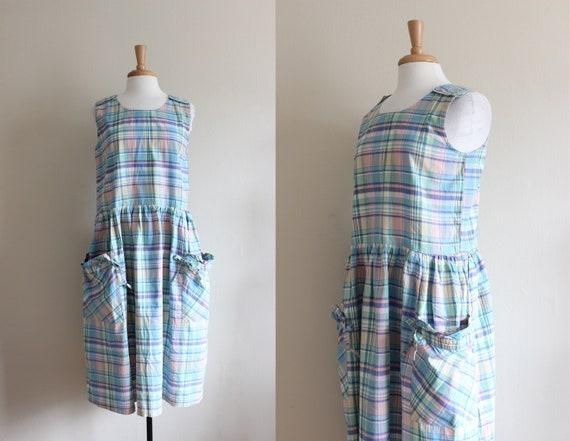 Vintage Pastel Plaid Cotton Slouchy Summer Dress