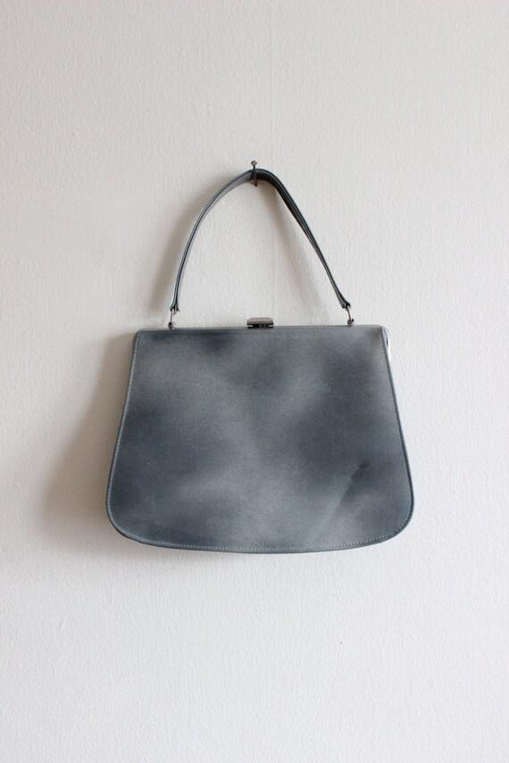 Vintage 1950s Grey Patent Top Handle Bag