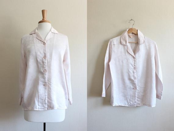 Vintage Pale Pink Swirl Pajama Style Silk Top