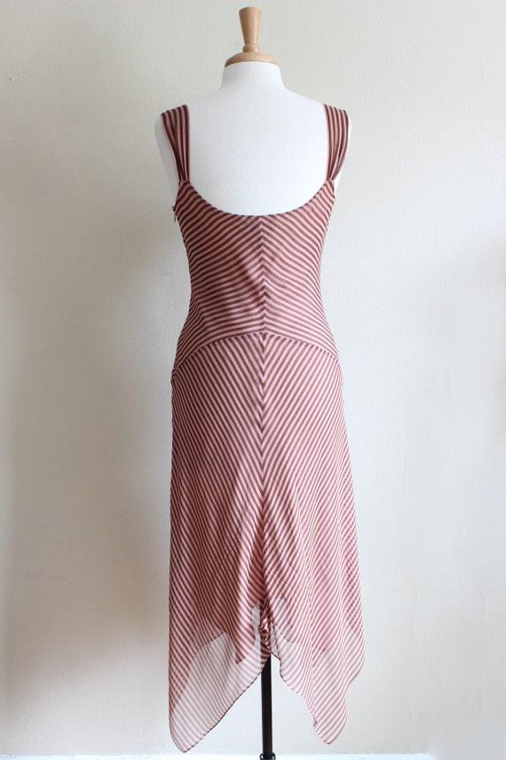 Vintage 1990s Pink & Brown Stripe Silk Chiffon Dr… - image 8
