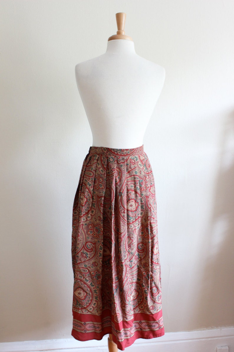 Vintage Red /& Pink Paisley Silk Midi Skirt