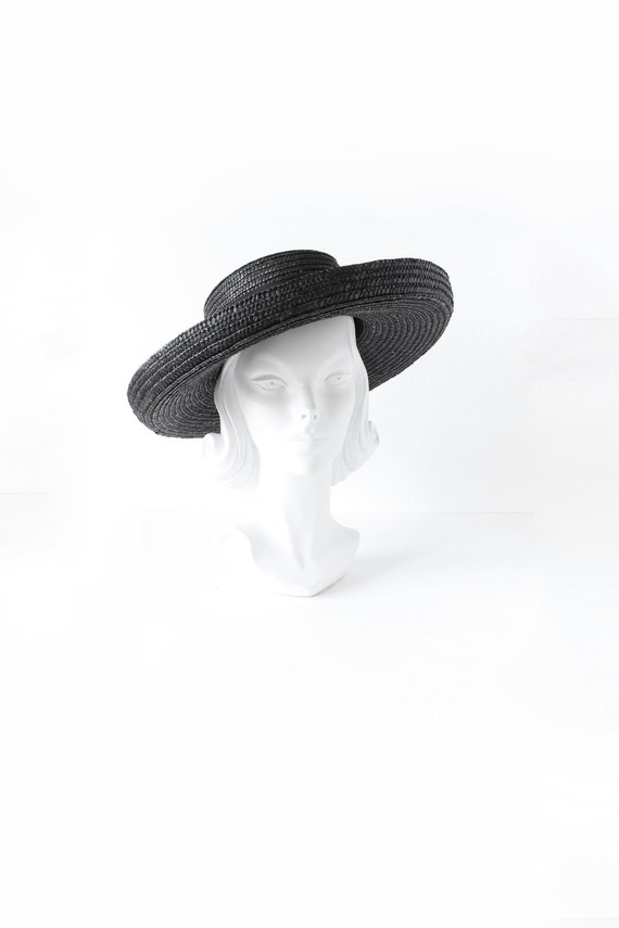 Vintage Black Wide Brim Straw Hat with Grosgrain B