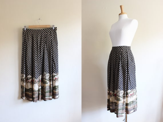 Vintage Equestrian Novelty Print Black Midi Skirt - image 1