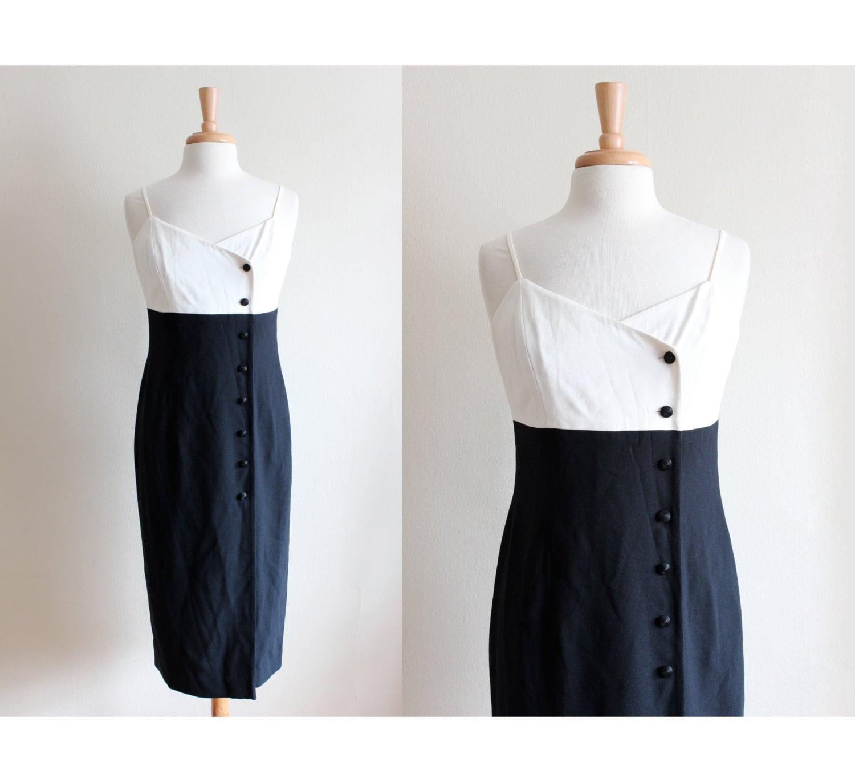 80s Dresses | Casual to Party Dresses Vintage Tuxedo Style Black  White Midi Dress $80.00 AT vintagedancer.com