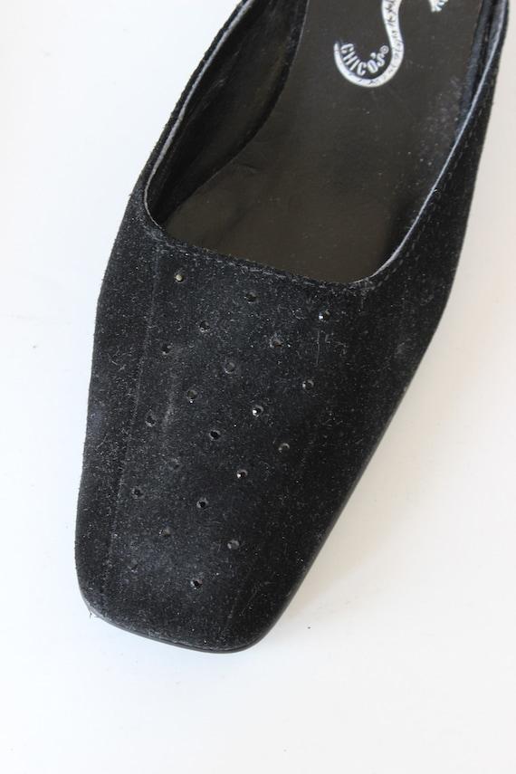 Vintage 1990s Rhinestone Embellished Black Suede … - image 7