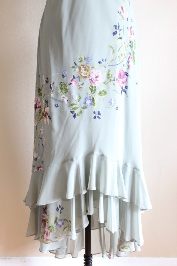 Vintage 1990s does 1930s Pale Green Beaded Floral… - image 5