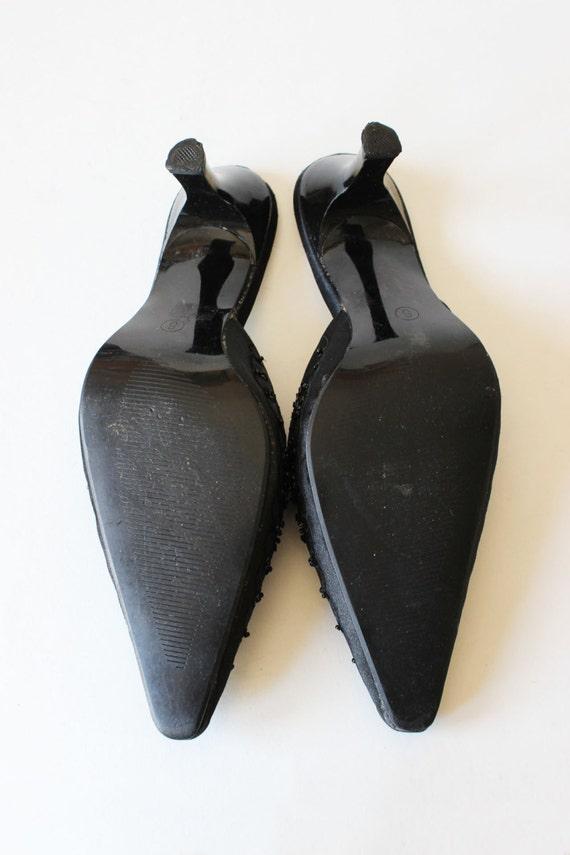 Vintage 1990s Black Beaded Satin High Heel Mules,… - image 5