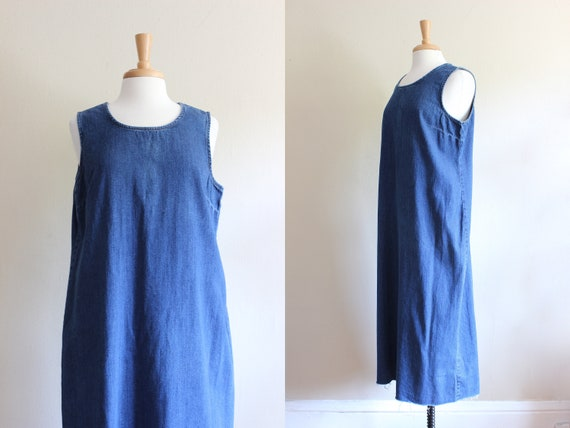 Vintage 1990s Raw Edge Denim Midi Dress